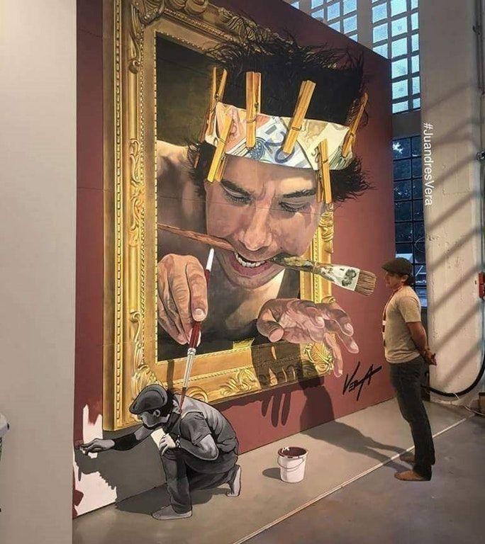 Ce peintre a peint une peinture de lui en train de peindre son portrait qui peint le peintre en train de le peindre. (par Juandrés Vera)