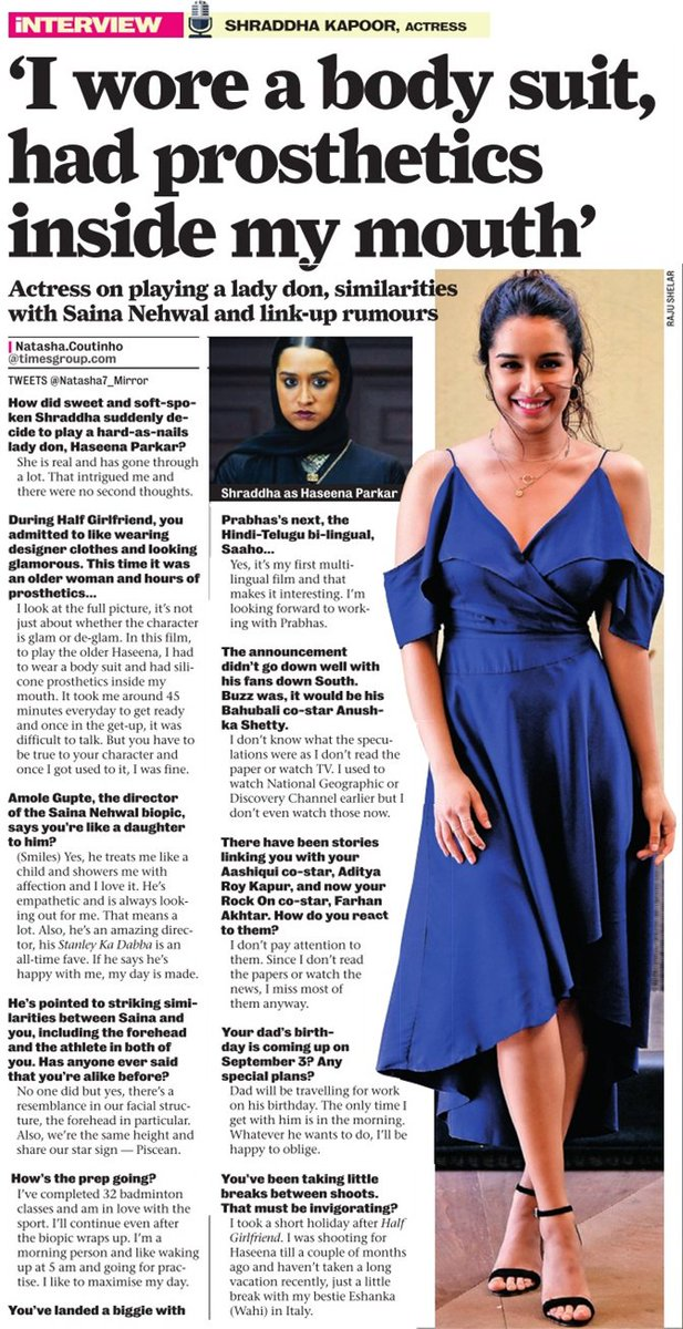 [SCAN]: @ShraddhaKapoor talks about playing a lady don, similarities with @NSaina and link-up rumours!