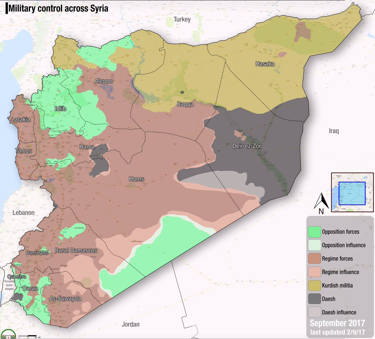 fsa news on twitter new map syria military control across syria at the beginning of the month of september