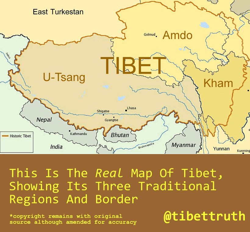 Help Stop #trueTibet Being Wiped Off The #World #Map > Share, Post, RT This Real Map Of #Tibet https://t.co/2yPGJYcggP