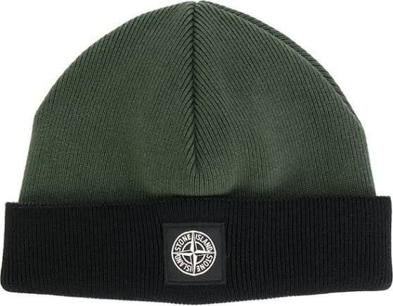 5a2ae162ad1 Stone Island Classic Knitted Beanie Hat Cotton Green purchase at  https   www.farfetch.com uk shopping men stone-island-classic-knitted-beanie-hat-item-  ...