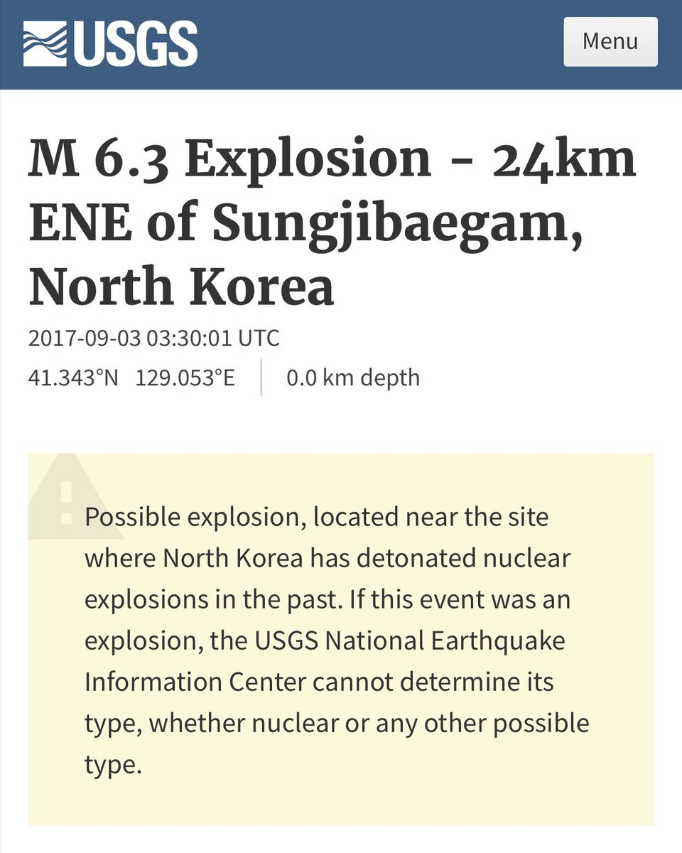 6.3 puts us up around a megaton. That would be a staged thermonuclear weapon folks. 4/ https://t.co/E5e4mqhQmg