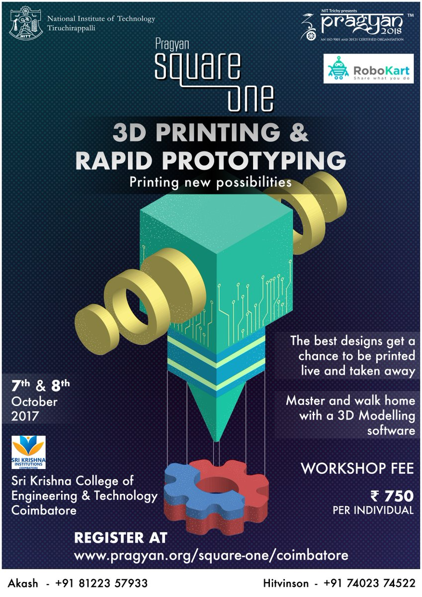 Hop aboard and create cool designs at #Pragyan #3Dprinting workshop as a part of #SquareOne #Coimbatore on October 7th and 8th!<br>http://pic.twitter.com/yoAzVRYCz8