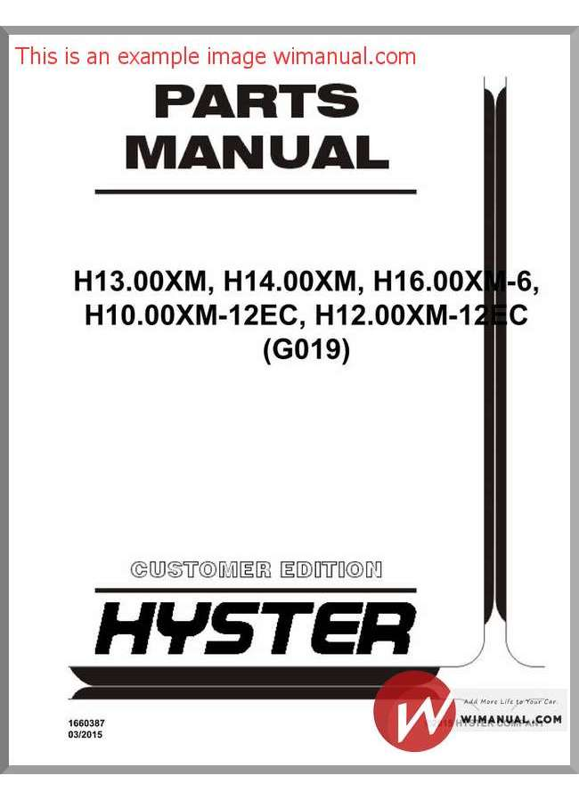 Hyster forklift Parts Manual S50xm