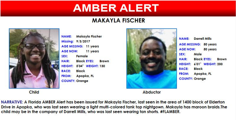 Fdle On Twitter Please Share A Florida Amber Alert Has Been Issued For Makayla Fischer 11 Years Old Last Seen In Apopka Flamber Https T Co Sfauuor30k