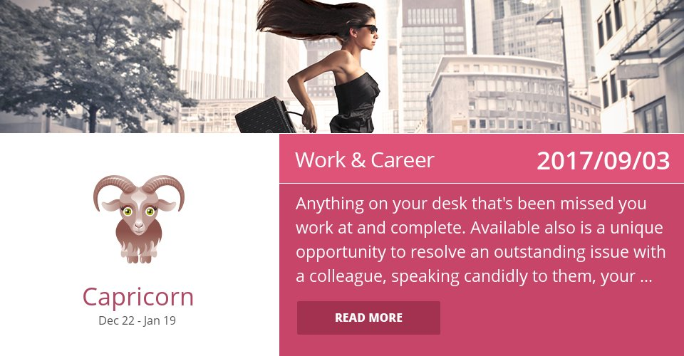Sep 3, 2017: Work Horoscope => See more: https://t.co/CiJVVVS19y Accurate? Like = Yes #Capricorn #Horoscope https://t.co/On5jG768Rw