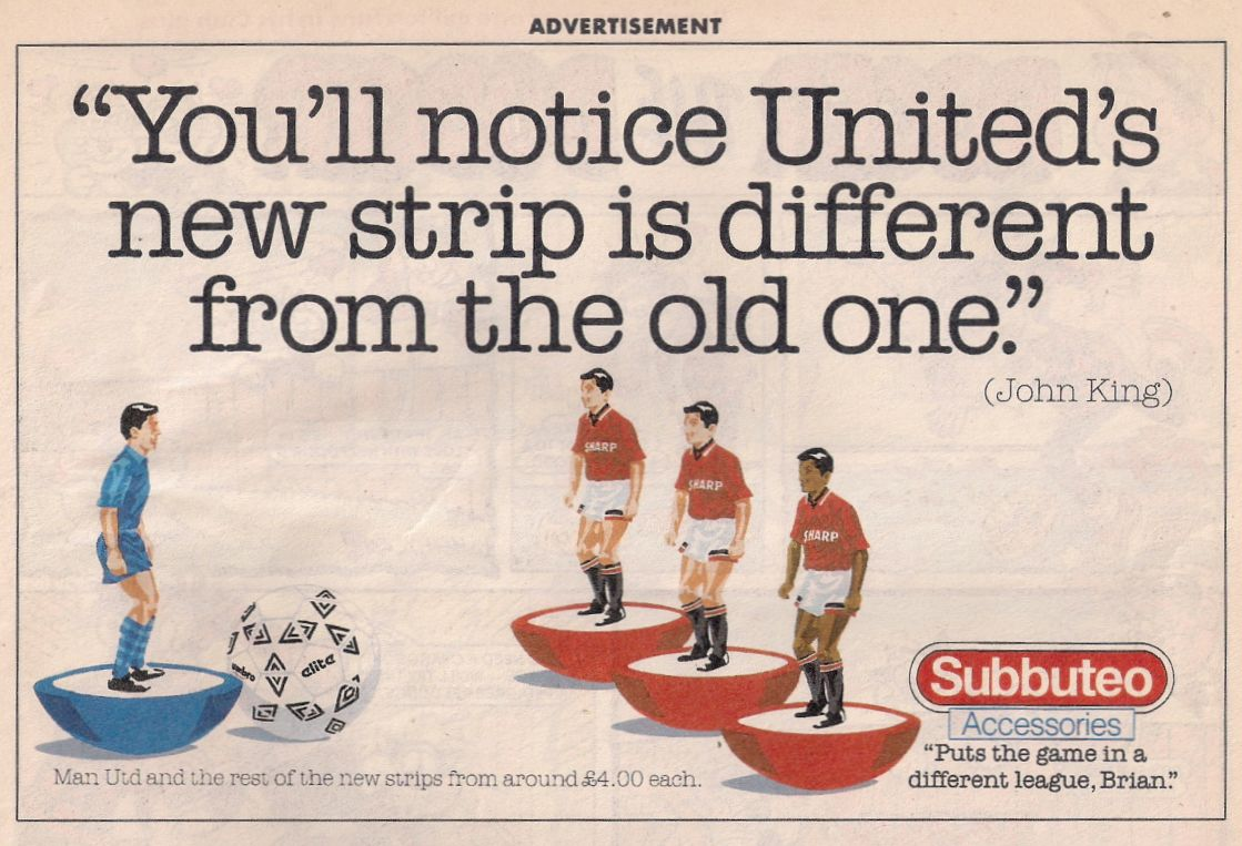 An advert for Subbuteo in 1994