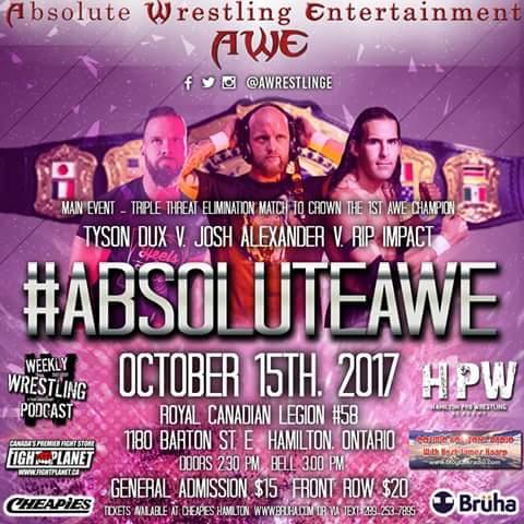 #CardRunDown: @TysonDux Vs. @Walking_Weapon Vs. @ripimpact 3 way elimination match to determine the inaugural #AWE champion. <br>http://pic.twitter.com/vV0bKdI1H2