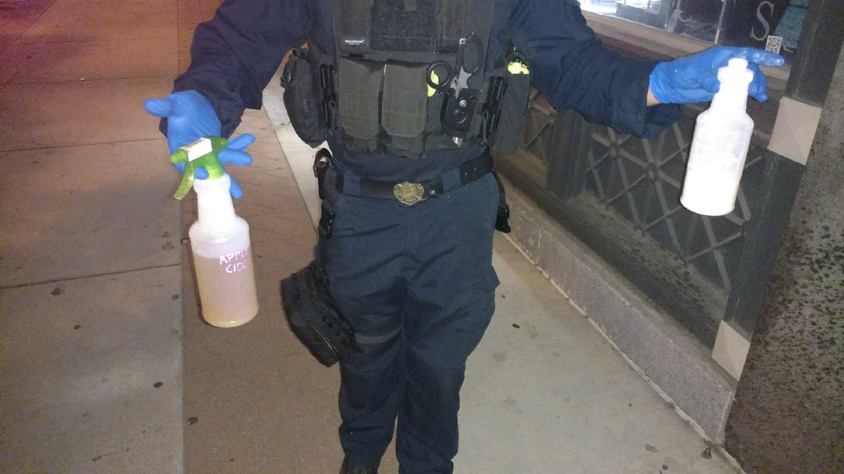 Officers confiscate bottles with unknown chemicals used to against police tonight in downtown #stl