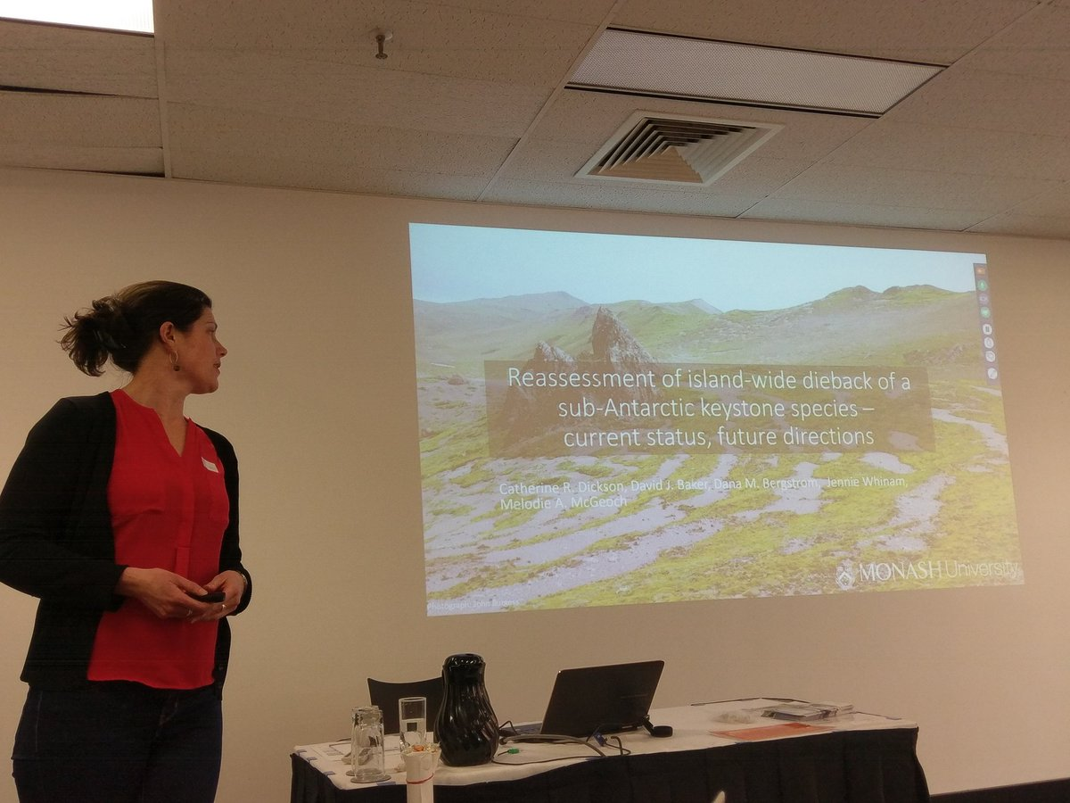 Azorella on #MacquarieIsland experiencing dieback at 88% of sites - due to #climatechange &amp; #pathogens - C Dickson at #APECS17 <br>http://pic.twitter.com/RX3ISWHu82