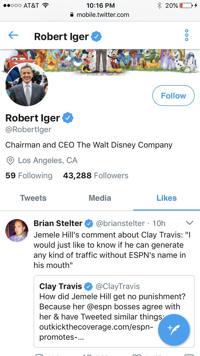 Clay Travis On Twitter How Rattled Is Disney ESPN By Outkick Crushing Them Their CEO Favoriting Negative Quotes About Me