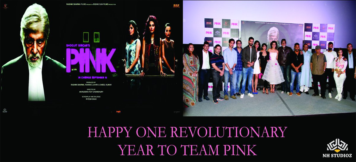 #NhStudioz celebrates ONE year #release of @TheFilmPink #Social #Films #Bollywood #OurCollection ​@SrBachchan @taapsee @ShoojitSircar https://t.co/7tZbHGLdT8