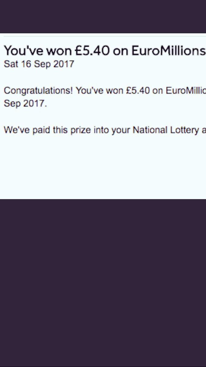 All excited by message I&#39;d won the #euromillions #lottery. Looks like I will be going back to work next week.<br>http://pic.twitter.com/U7nG5GN08h
