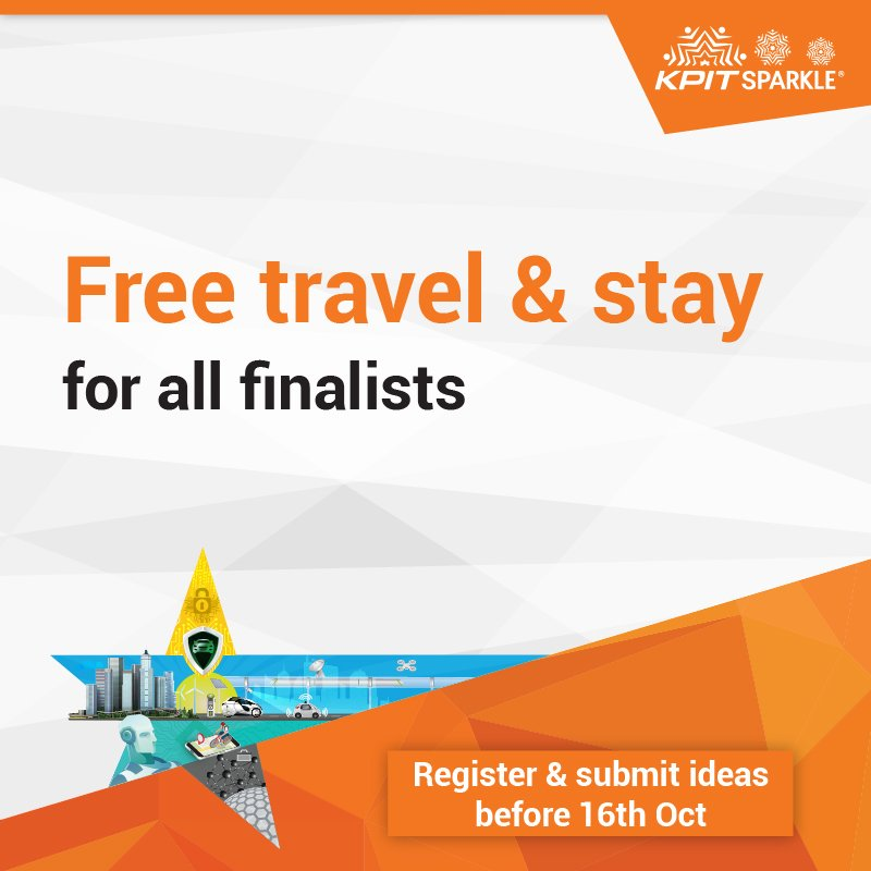 KPITSparkle 2018 is providing free travel &amp; accommodation for all the finalists. #KPITSparkle  https:// goo.gl/Hv3wLR  &nbsp;   #innovation #ideas<br>http://pic.twitter.com/Nu1W7XQm5N