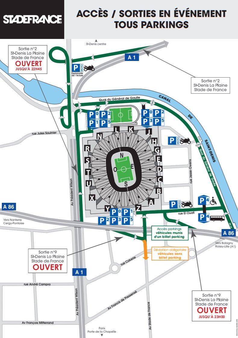 🚘 Automobilistes : Voici le plan d'accès aux parkings du Stade pour les 2 concerts @LesInsus #StadedeFrance