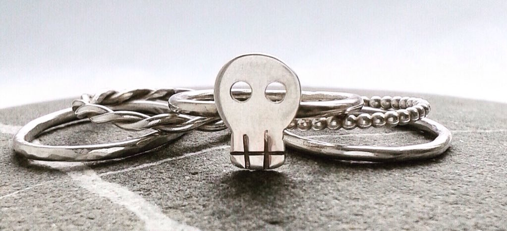 Happy #crafturday  Collection47 skull stacking rings are dead cool!   https://www. etsy.com/uk/listing/194 673551/handmade-sterling-silver-skull-stacking?ref=shop_home_active_2 &nbsp; …  #skull #jewellery #style #madeinderbyshire <br>http://pic.twitter.com/1itbSxPICO