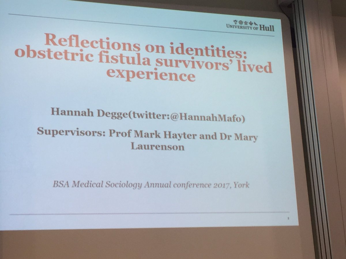 Well done @HannahMafo fantastic presentation at #Medsoc2017 reflecting on the changing identities fistula survivors <br>http://pic.twitter.com/c8Ux7fbgpC