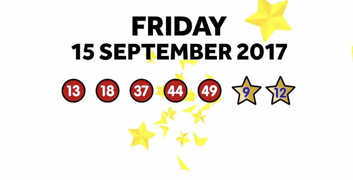 EuroMillions Result  Friday 15th September 2017 13, 18, 37, 44, 49    9  12 #EuroMillions <br>http://pic.twitter.com/WnMR4ELiHz