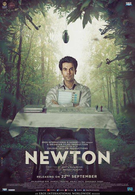 #Newton New poster. Releasing on 22nd September. Here's the trailer https://t.co/RpKFKoKRjY @aanandlrai @ErosNow @ManMundra @Amit_Masurkar https://t.co/h1nFLDJEaa