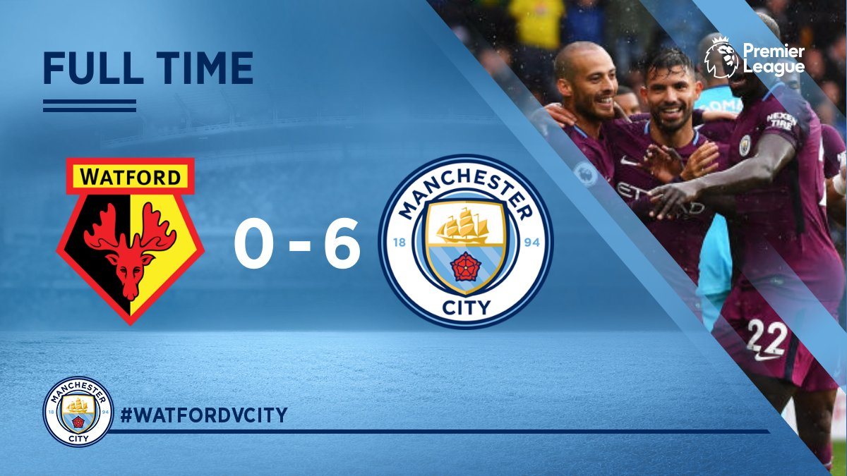 #Cityday  FT : Watford  0 : 6 Manchester City Aguero ⚽ Aguero ⚽ G.Jesu...