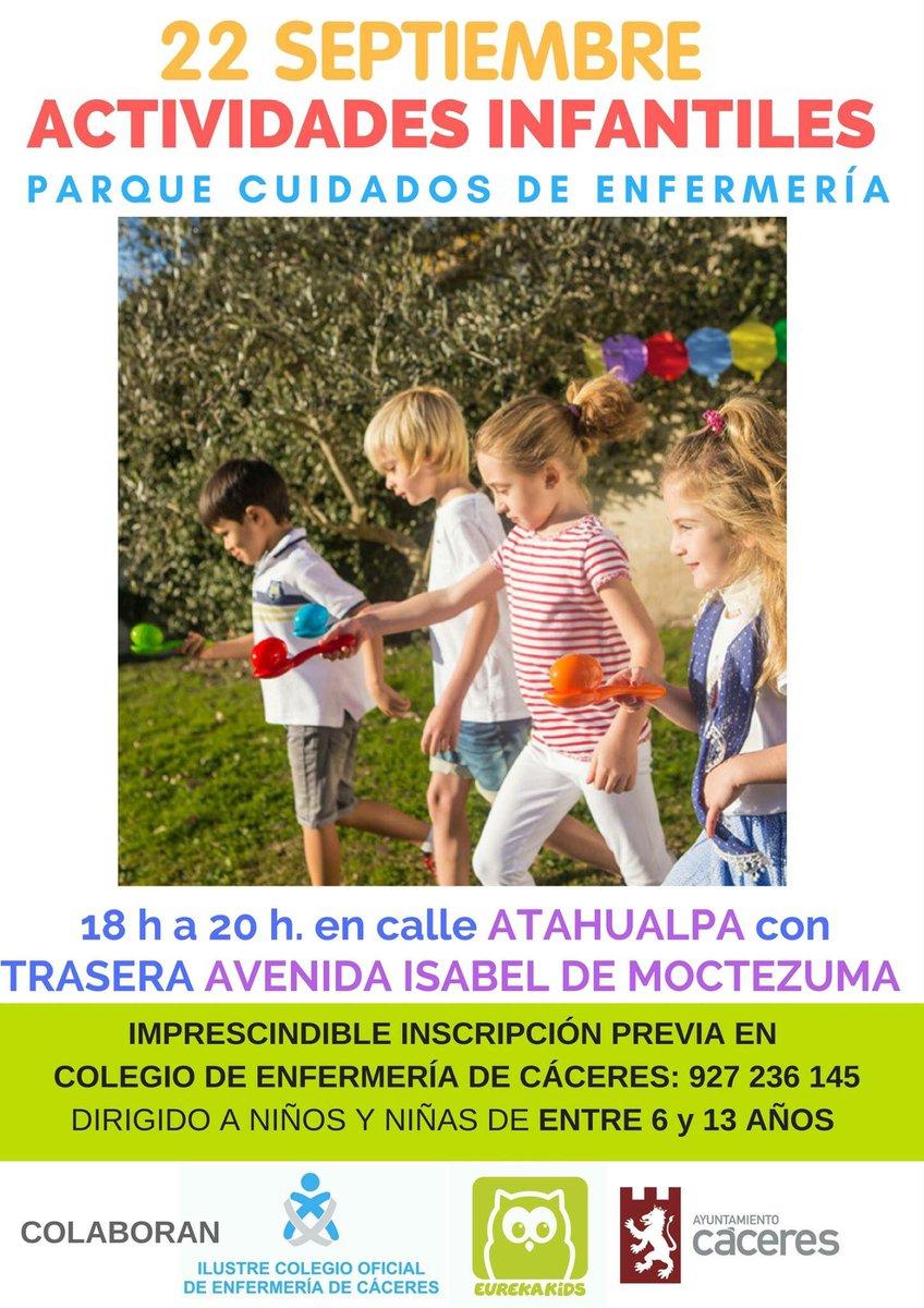 """Organizamos actividades infantiles el viernes 22/09 (18 a 20 h) en parque 🌳""""Cuidados de Enfermería"""" Importante inscripción previa en Colegio"""