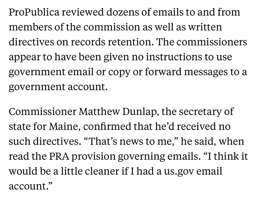 Trump's voter fraud commission members have been using private emails for govt. work.  Experts say it's not legal. https://t.co/lbfXzssLTP