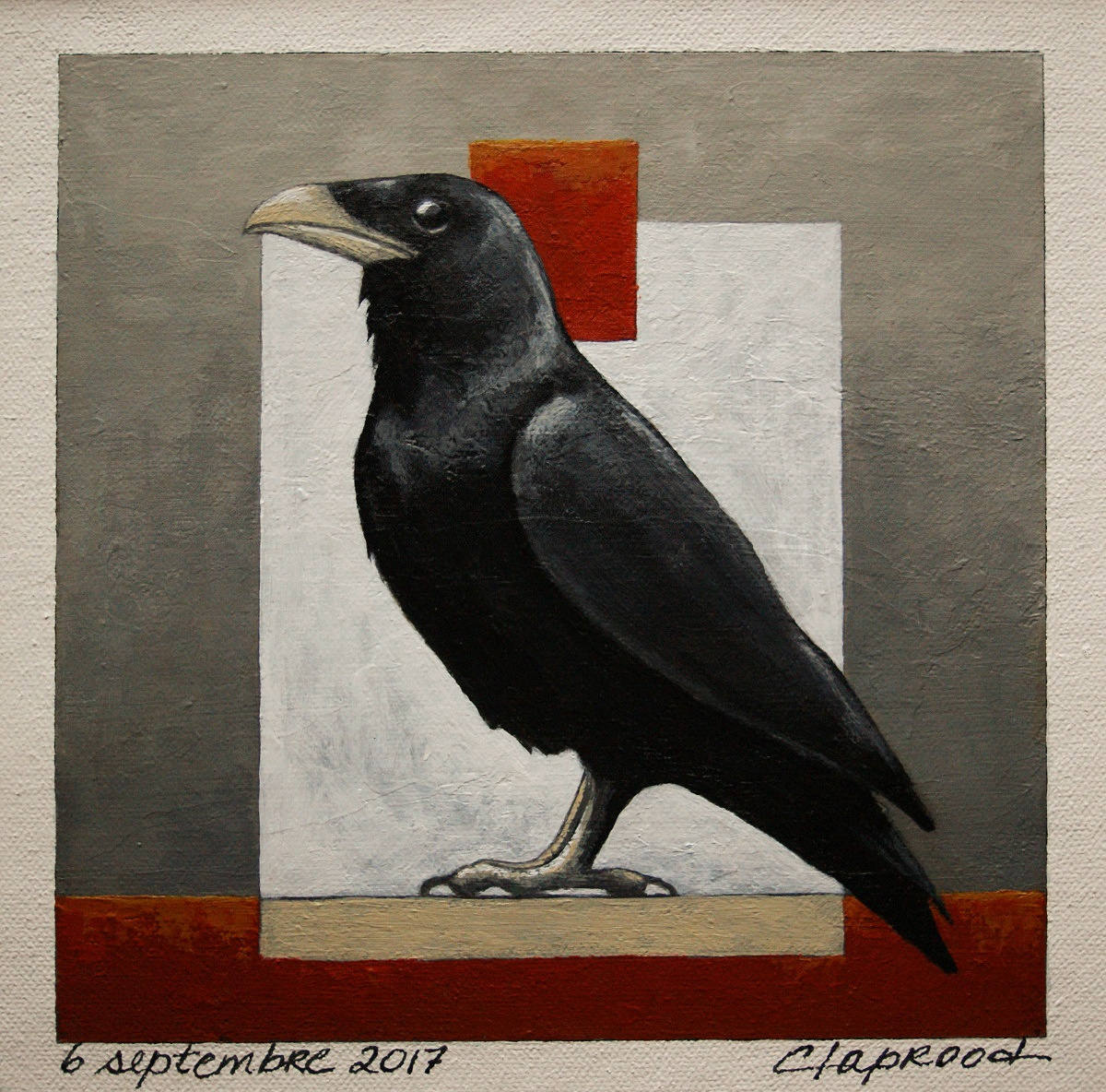 6x6 inches painting within an 11x14&quot; mount DETAILS HERE:  https:// seethis.co/bQQ0nl/  &nbsp;   #painting #Bird #red #Black #Raven #Etsy #Art #HomeDecor<br>http://pic.twitter.com/IPtw9dnrNX