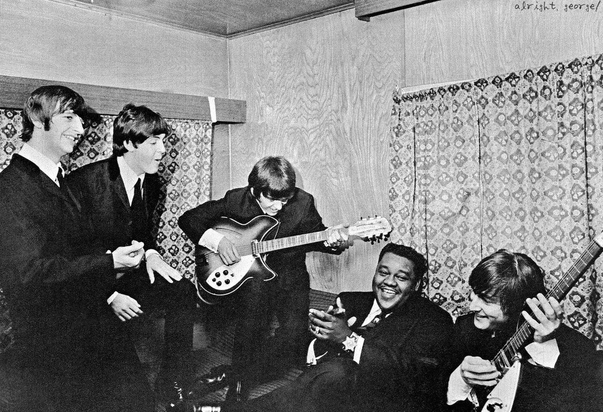 Fats Domino with the members of Beatles on 16 October 1964 before their show in New Orleans