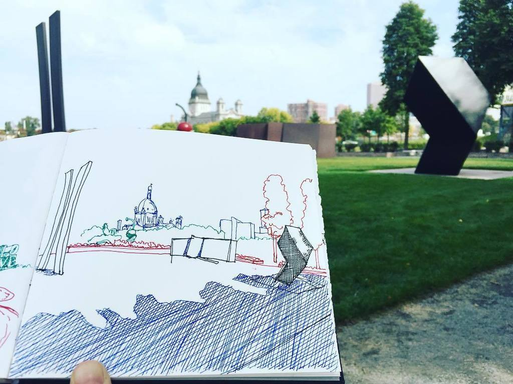 Sitting in the shade to sketch and enjoy sculptures by #ellsworthkelly #richardserra and #tonysmith and the @basil…  http:// ift.tt/2wjakfq  &nbsp;  <br>http://pic.twitter.com/EXfMS73JuZ