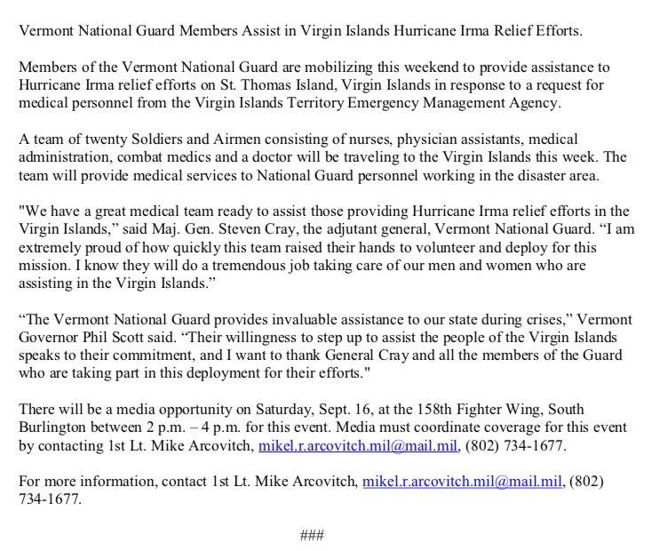 20 Vt National Guard Will Assist W Irma Recovery In Usvi Providing Medical Services I Ll Be Visiting Them At 3 Today Wish Wellpic Twitter
