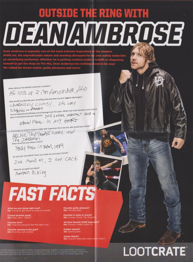 dean ambrose net on twitter scan of the lootcrate poster thanks to