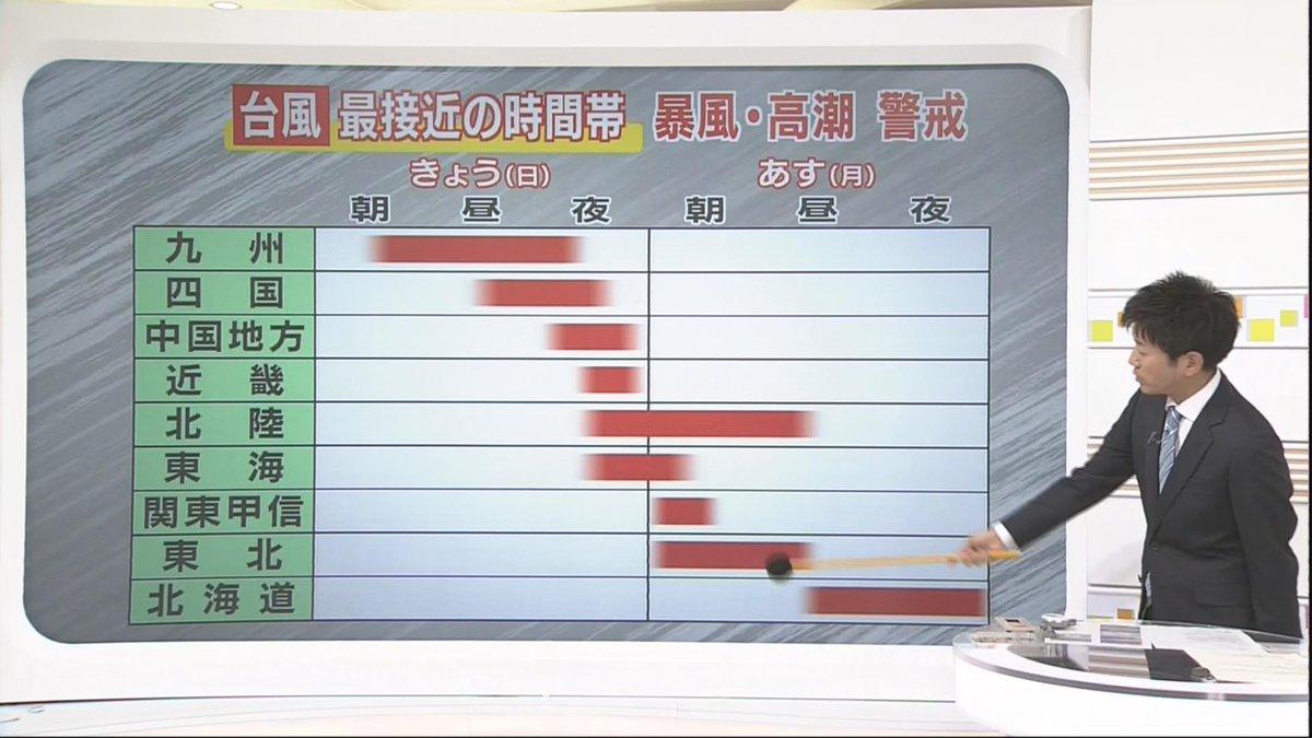 【台風18号が最接近する時間帯は?】九州は昼前から夕方にかけ、四国は午後、中国地方は夕方以降、近畿は…