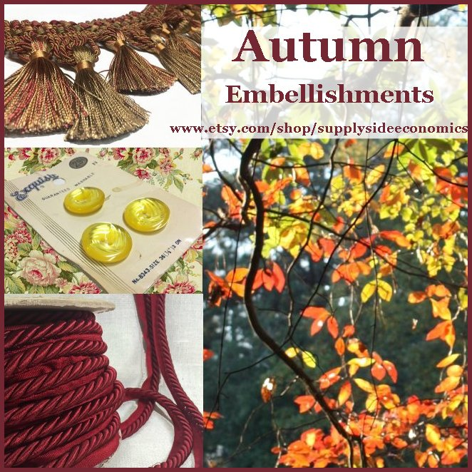 Autumn Embellishments @etsy @Rescuedoffering  http:// etsy.me/2f1TW8d  &nbsp;   #vintage #buttons #trim #tassel #ropecord #etsyspecialt #etsyteamunity<br>http://pic.twitter.com/shRVRzaGUN