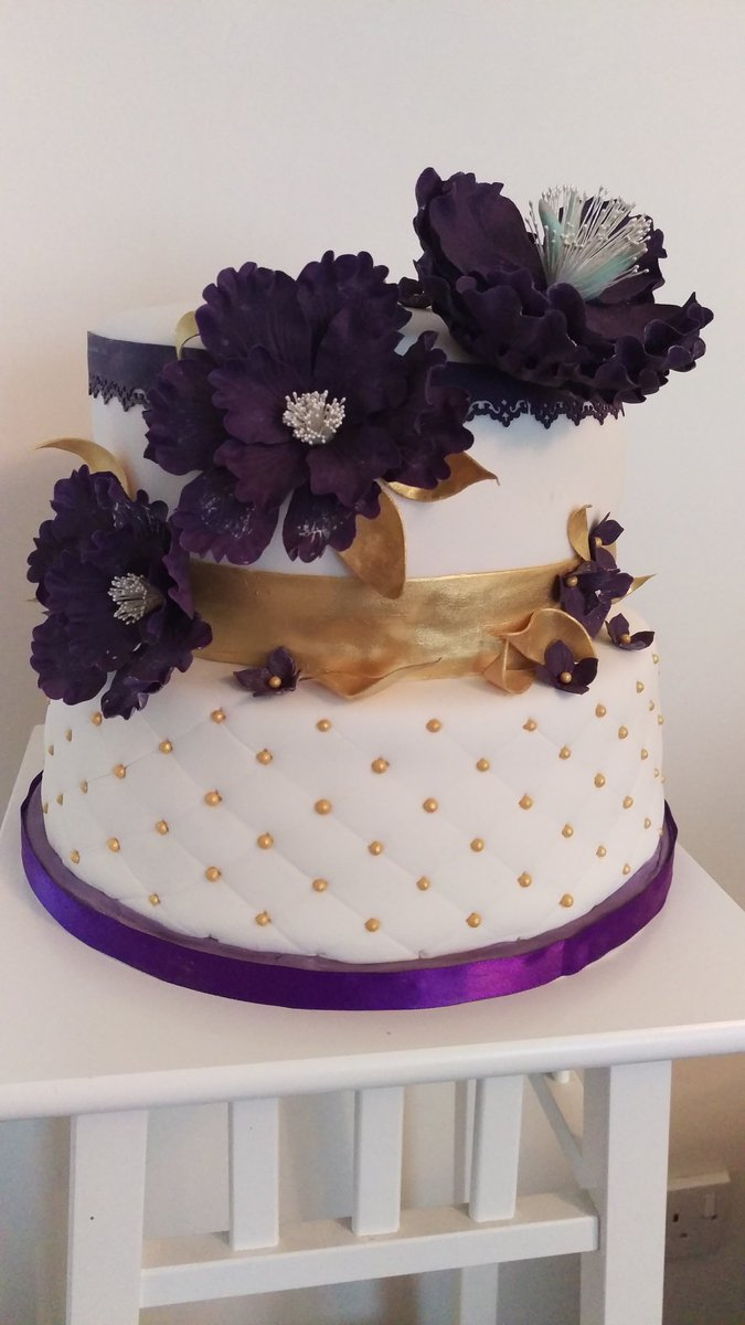 Deep Purple Gold Vanilla Chocolate Fudge 2 Tiered 60th Birthday Cake With Sugarpaste Flowers Ribbons Ordered Weds For Sat Collectionpictwitter