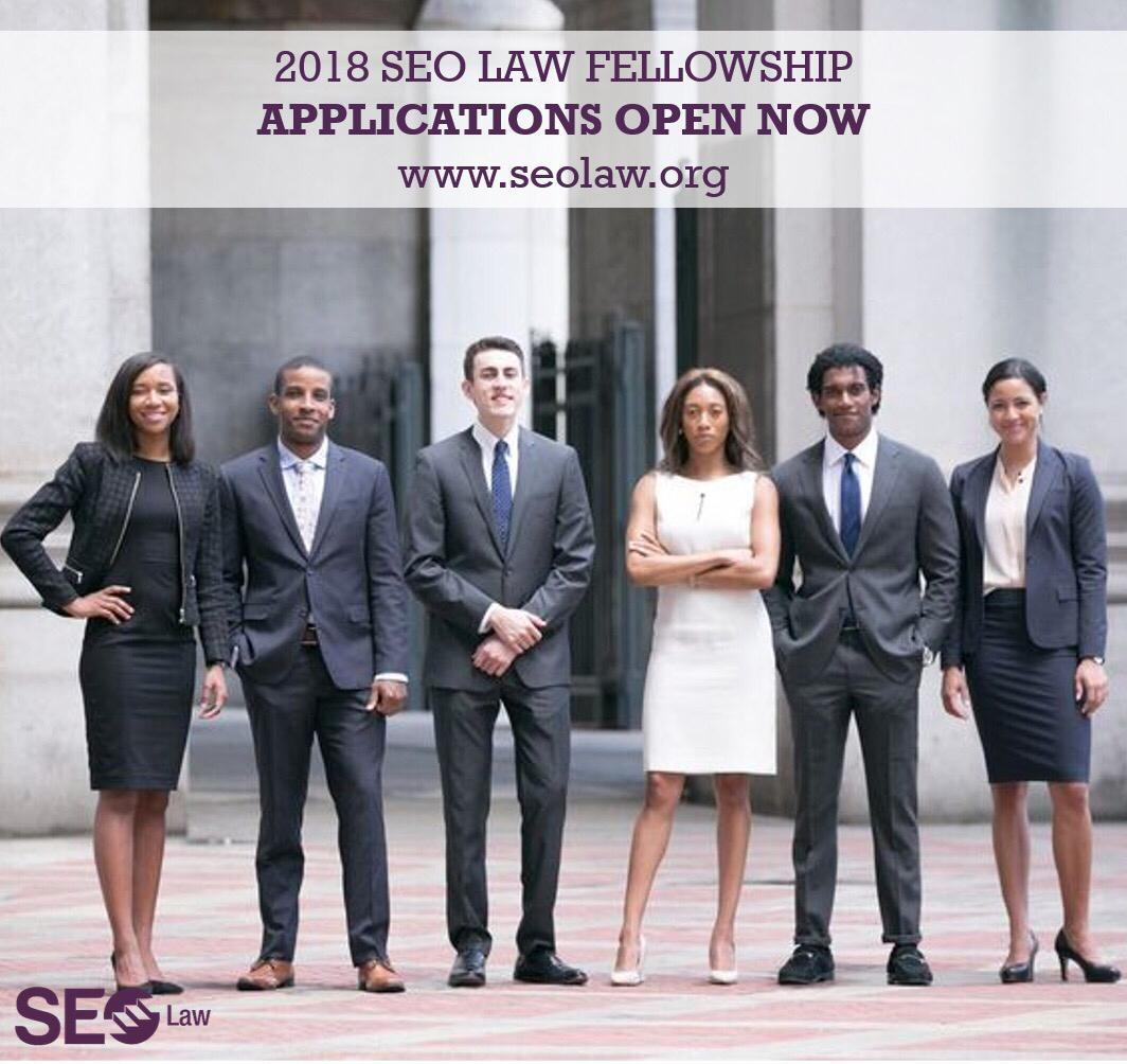 Applications are now open for the 2018 SEO #Law #Fellowship. Know a diverse student applying for law school this year? Spread the word! @cau<br>http://pic.twitter.com/ERINZdwW2S