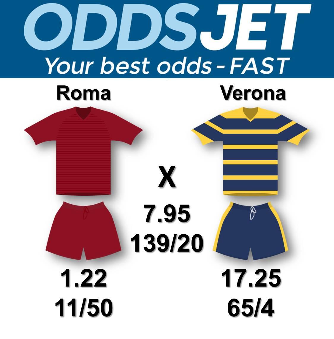 #SerieA, #RomaVerona, #ROM, #ASRoma, #ASR, vs. #Verona, #HVFC, #HellasVeronaFC, Get your best odds - fast at  https:// oddsjet.com  &nbsp;  <br>http://pic.twitter.com/TdJs9ueLYN