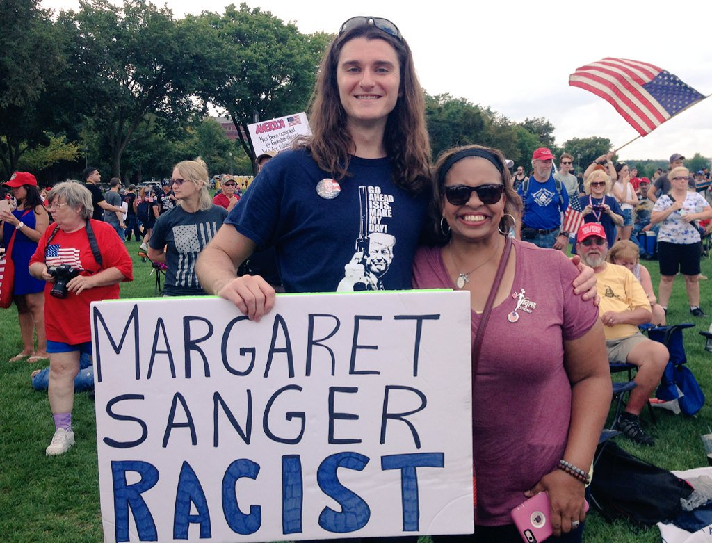 Kim thanked me for being here today and exposing Margaret Sanger as a...