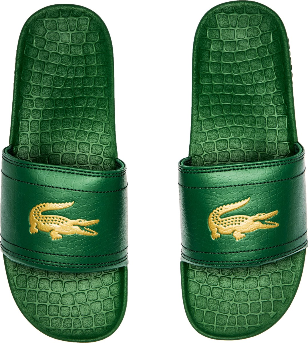 5229c08e84ae Lacoste fraisier croc mens slide on sandals (black gold) - scoopnest.com