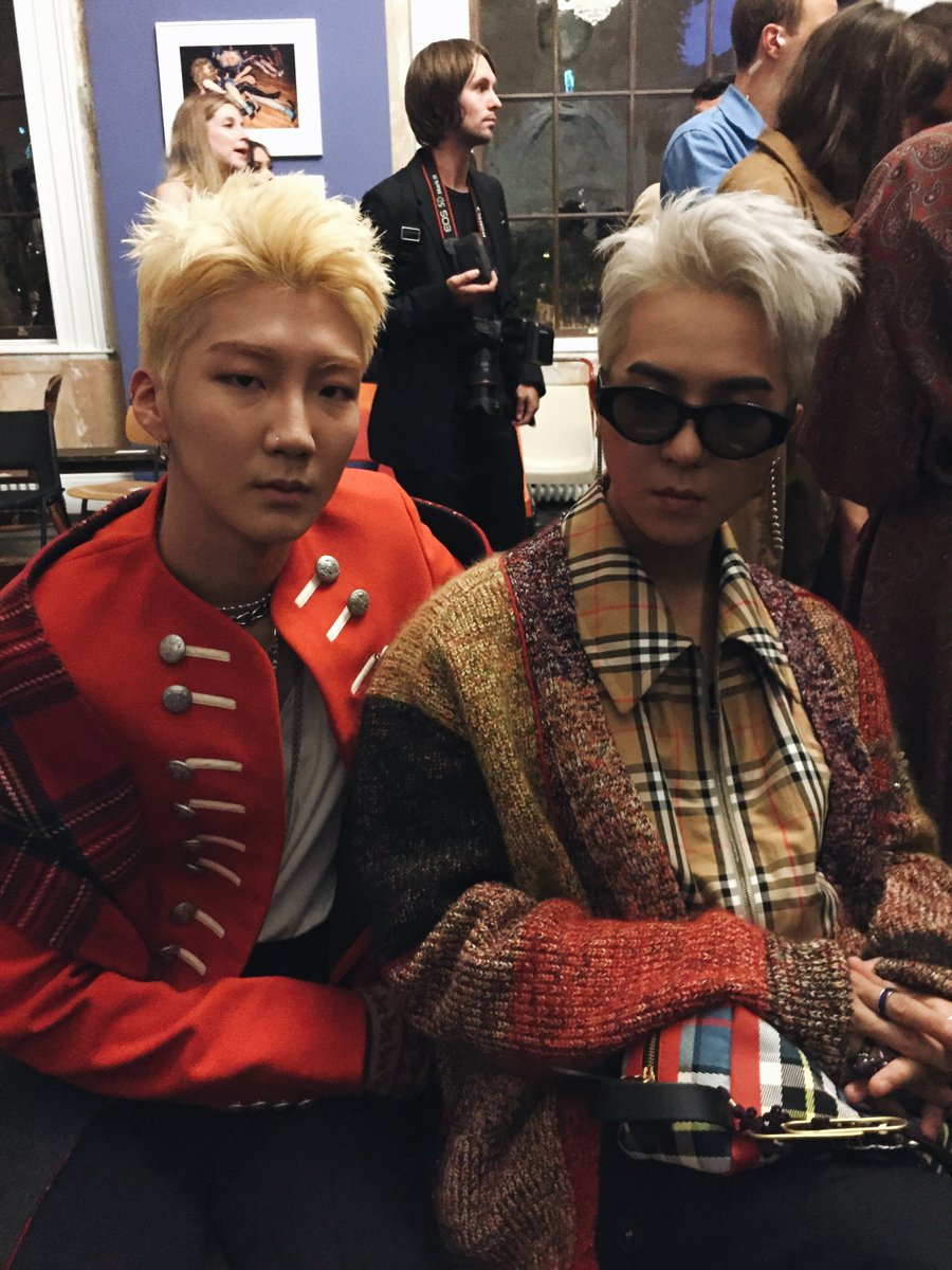 HOONY and MINO from WINNER at Old Sessions House for the #BurberryShow wearing the September 2017 collection #LFW