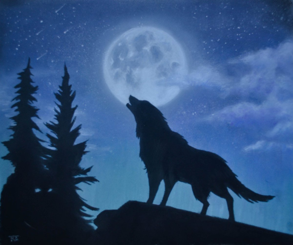 Finished pastel drawing of a wolf howling at the full moon #pastels #fineart #moon #wolf #wildlifeart #fineart #art #nightsky #drawing<br>http://pic.twitter.com/qVc3XuYoNs