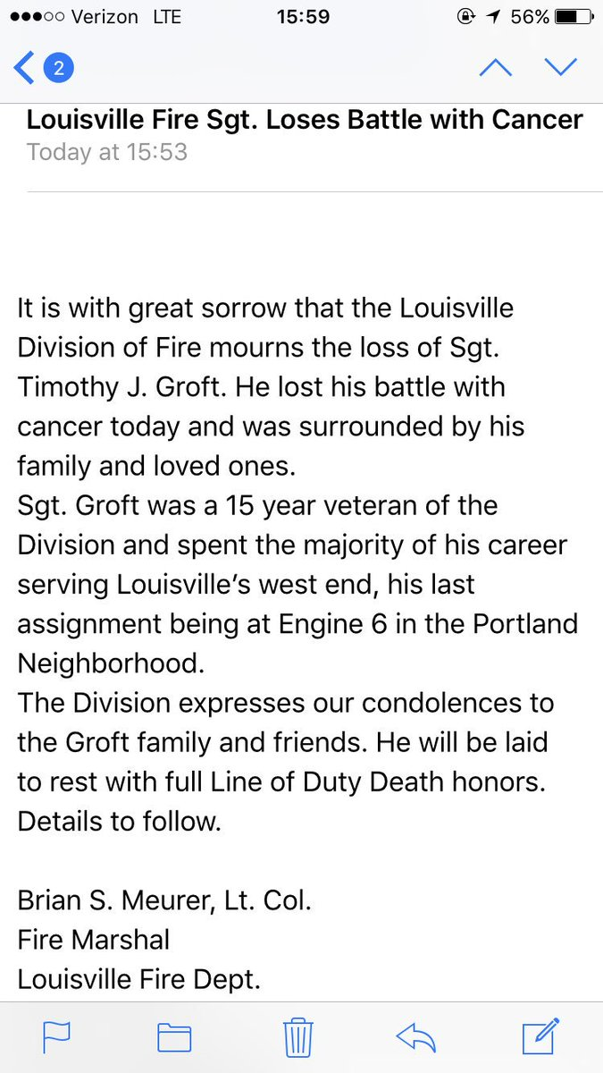 Alert: Sad news from my friends @loukyfire on the loss of one of their #heroes. Thoughts &amp; prayers to the #LFD family #LODD #cancersucks <br>http://pic.twitter.com/WllNaeEuNv