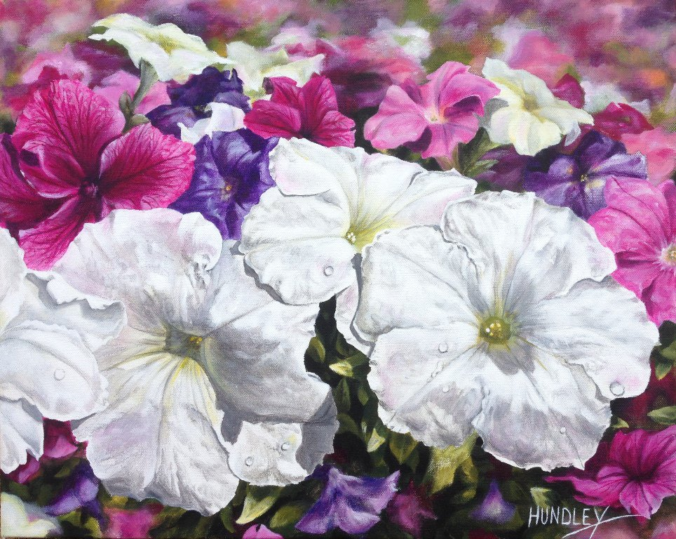 &quot;3 White Petunias&quot; 16 x 20 in. Acrylic on Canvas.  http:// artbycy.com / &nbsp;   #flowers #petunias #gardening #florals #interior #decor<br>http://pic.twitter.com/xjLUGj1eCe
