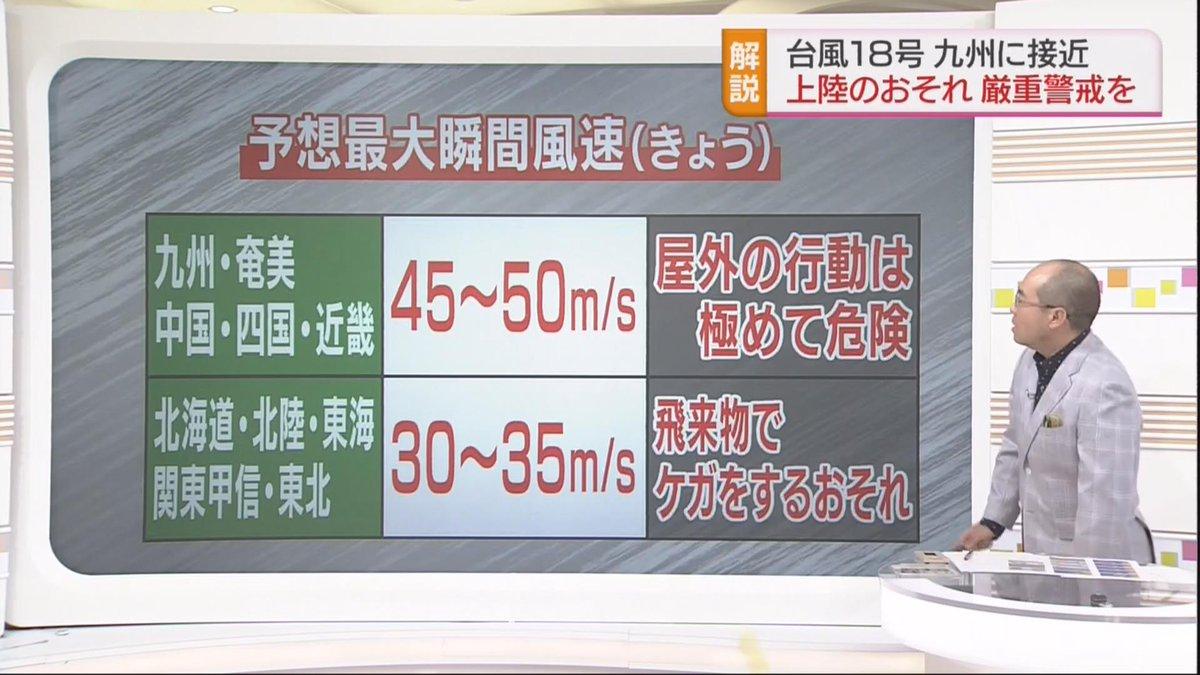 【台風18号 予想される最大瞬間風速】きょうは西日本などでは45~50メートル、北日本や関東甲信では…