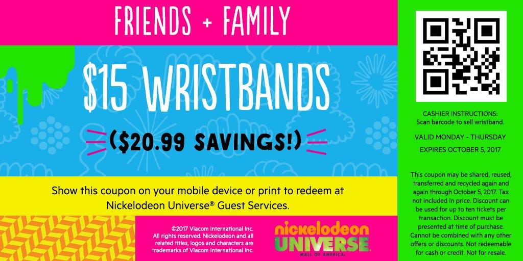 nickelodeon universe wristband coupon