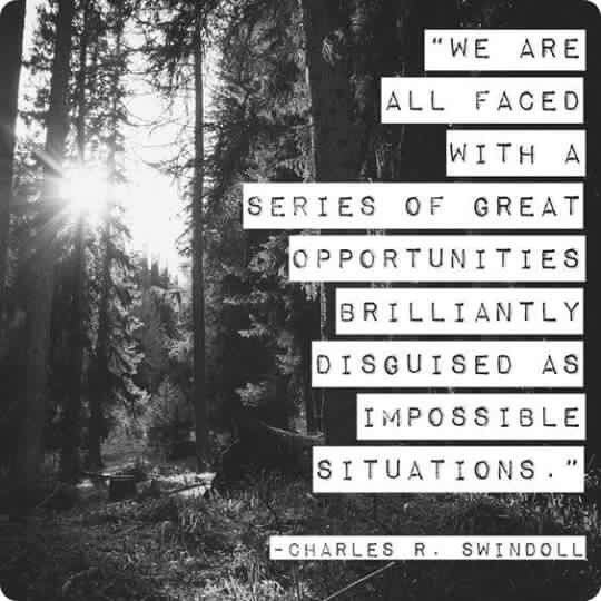 We are all faced with a series of great opportunities brilliantly disguised as impossible situations | #inspire #motivate #quote #LifeCoach<br>http://pic.twitter.com/ZCG6cEAXZm