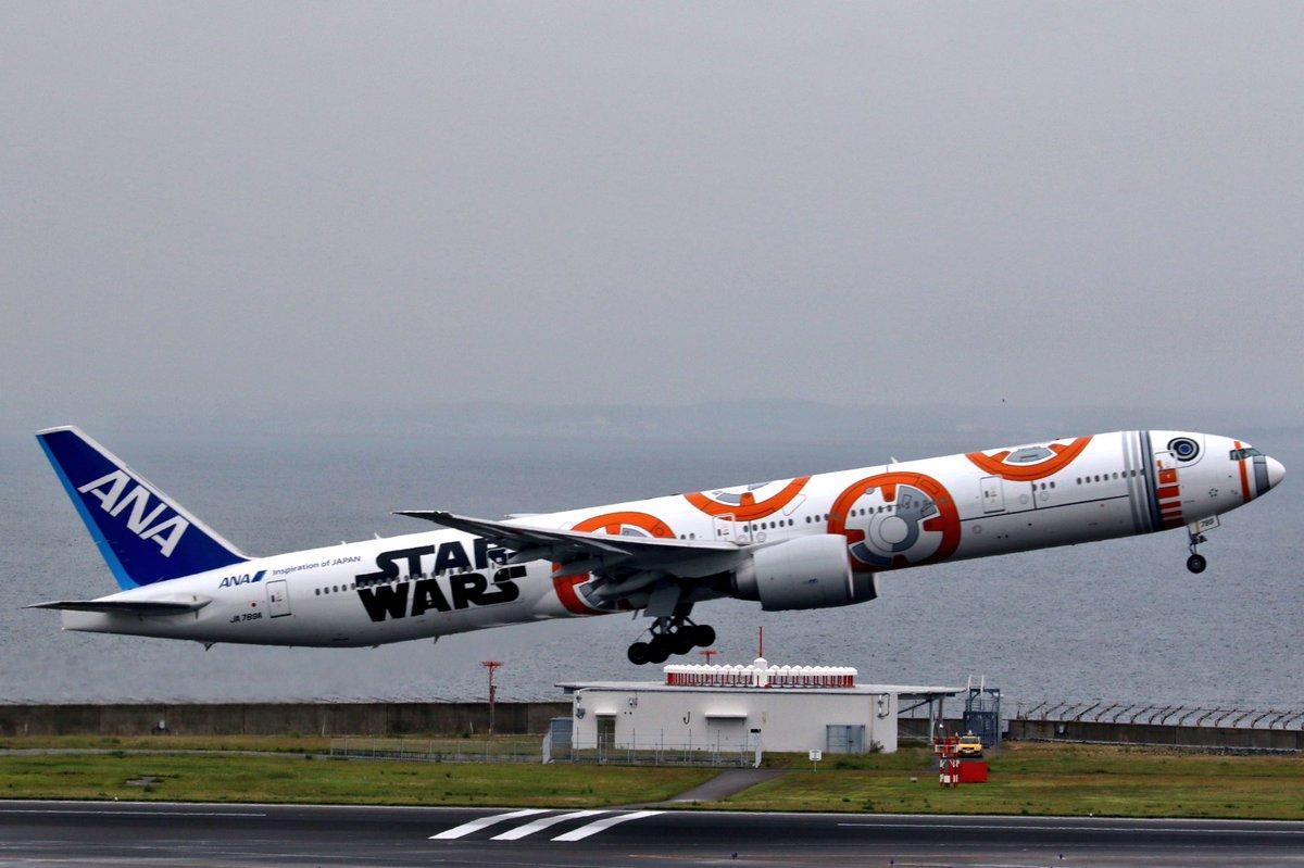 スターウォーズな777は成田便でした。セントレアを離陸です🛫