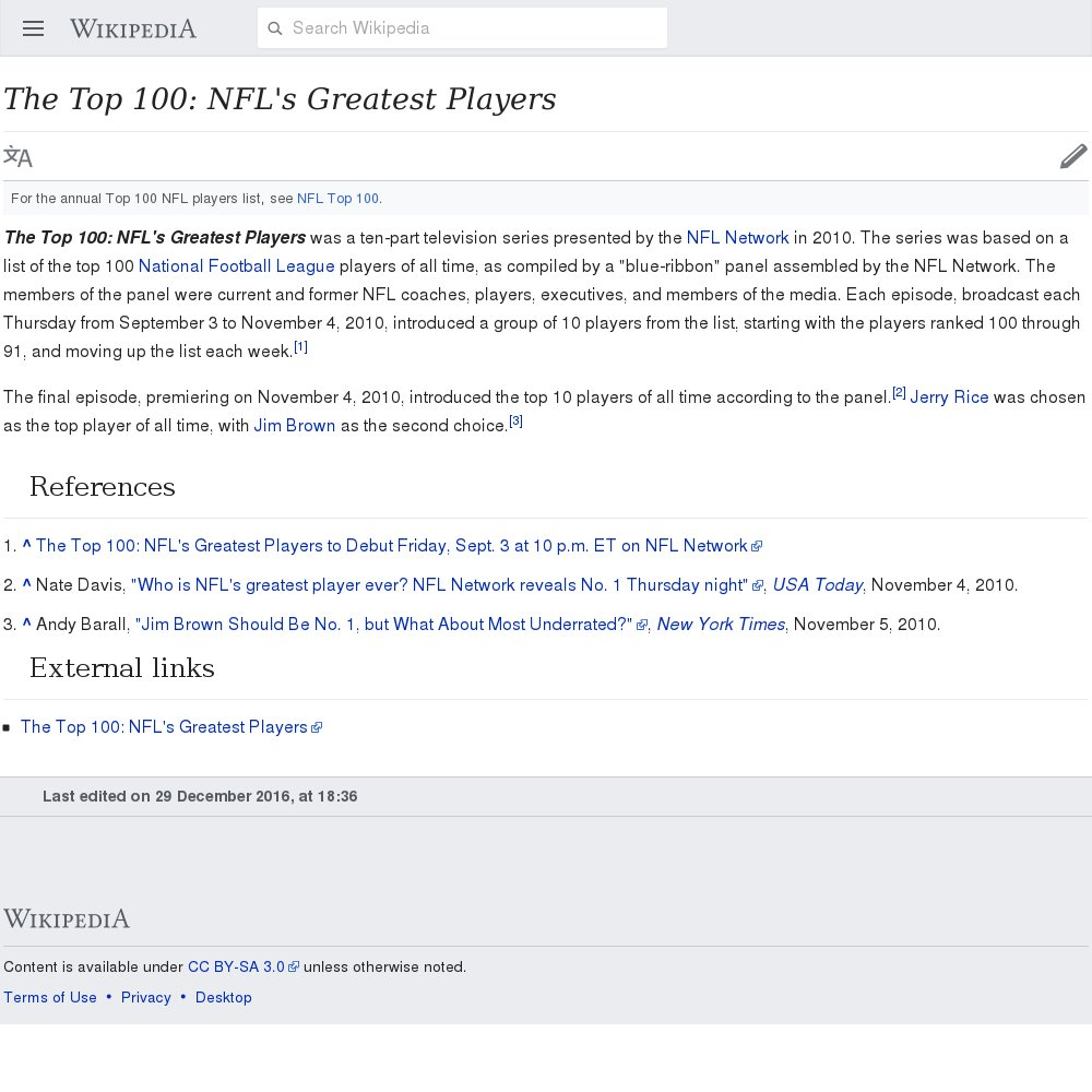 Top 100 nfl players of all time