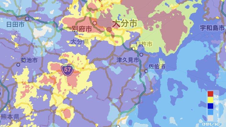 【大分県、九州北部豪雨を超える雨も】地形の効果も加わり、活発な雨雲がかかり続け、激しい雨が継続。九州…