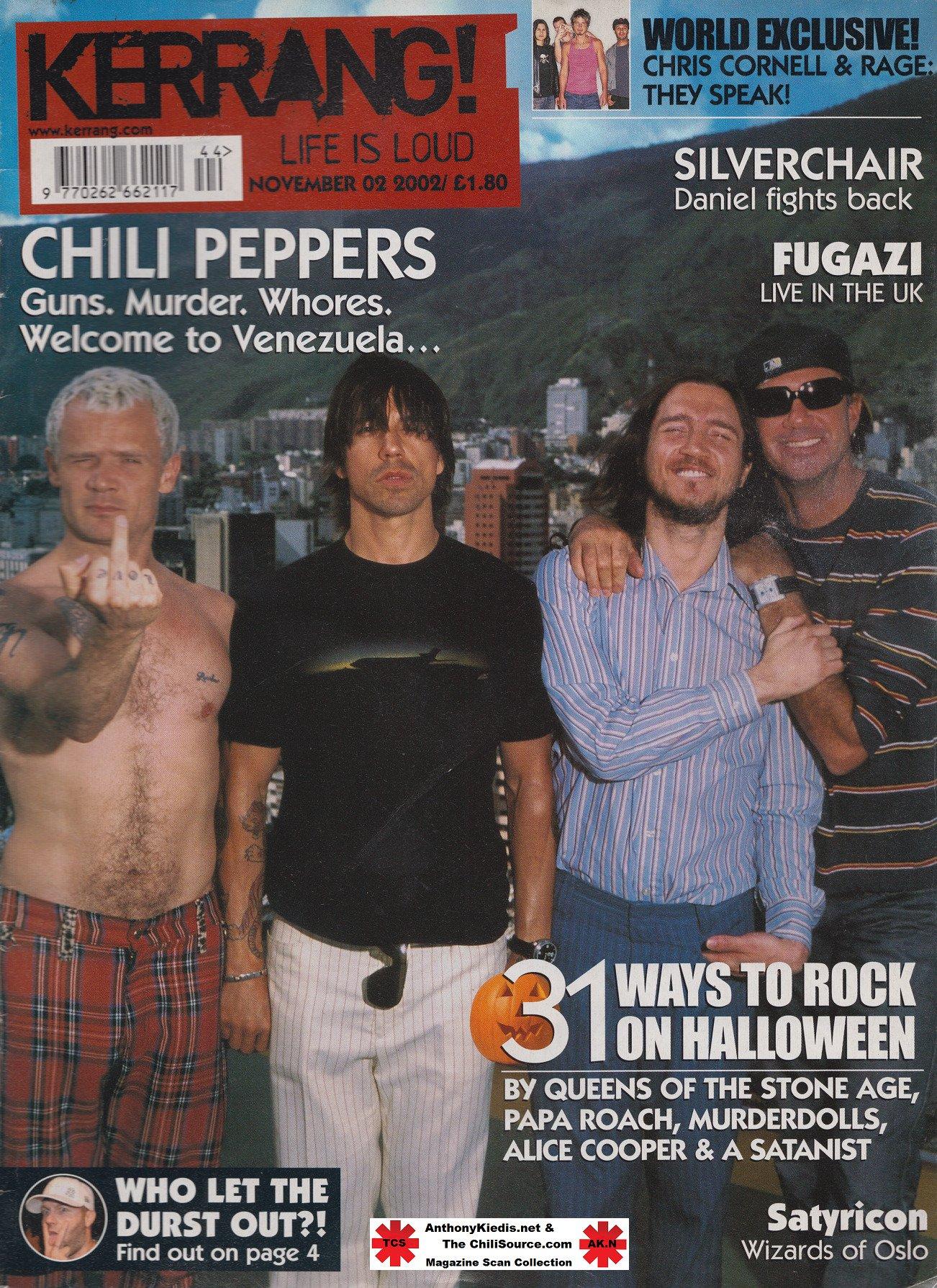 Portada de la revista británica @KerrangMagazine, 2 de noviembre de 2002