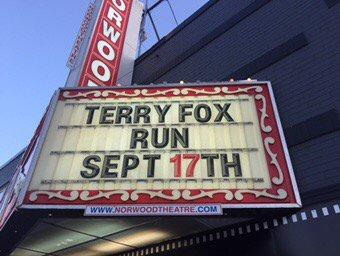Nice touch Norwood Theatre @townbracebridge! @TerryFoxCanada #hero #movienight<br>http://pic.twitter.com/T1kKjqwSdN
